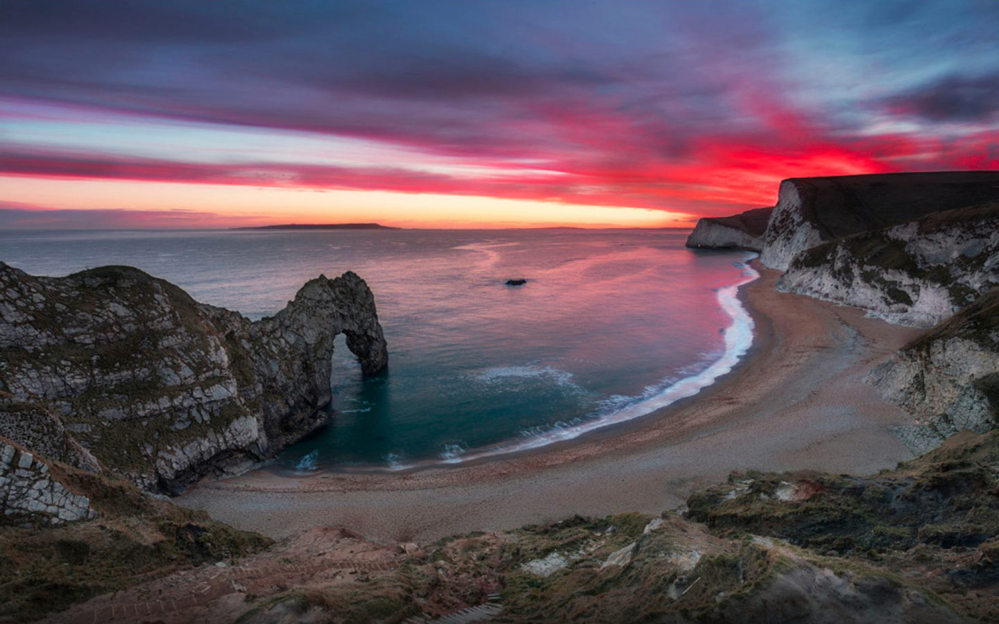 Sea Shore Sky In Flame Nice Red Sunset Over Durdle Door